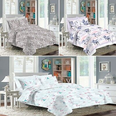 New Printed Duvet Set Quilt Cover Bedding With Pillow Case Single Double King