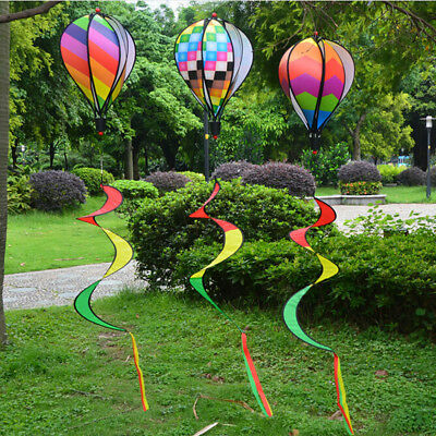 Hot Air Balloon Wind Spinner with Rainbow Stripe Garden Yard Outdoor Decorat GY