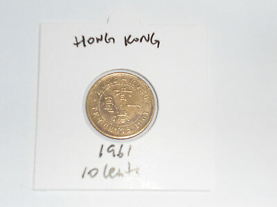 1961 Hong Kong 10 Cent coin ten cents Queen Elizabeth II QEII