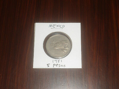 1981 Mexico 5 Peso coin Mexican five pesos