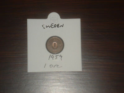 1959 Sweden 1 Ore coin Swedish one ores