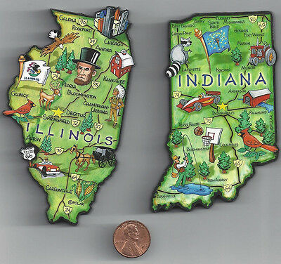 INDIANA  IN   and  ILLINOIS  IL     ARTWOOD JUMBO  STATE MAP MAGNET SET - 2 NEW