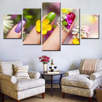 Colorful Nails Poster 5p Canvas Print Beauty Painting Wall Art Nails Salon Decor