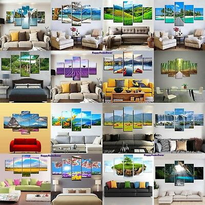 Landscapes Painting 5p Canvas Print Relax Nature Poster Wall Art Gift Home Decor