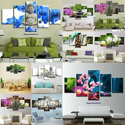 Relax Orchids Painting 5p Canvas Print Peaceful Buddha Wall Art Frame Home Decor
