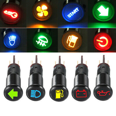 Waterproof 12V 24V 12mm Symbol LED Dash Panel Warning Pilot Indicator Light Bulb