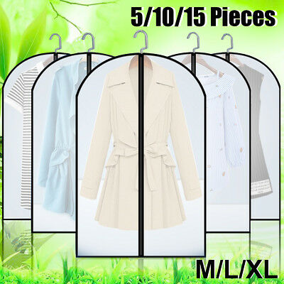 15x Clear Clothes Dust Bag Protector Cover Suit Dress Garment Storage Dust Proof