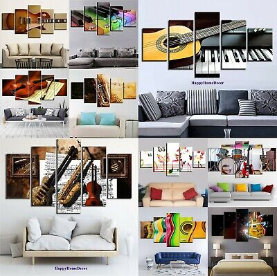 Instruments Painting 5p Canvas Print Music Motivation Poster Wall Art Gift Decor