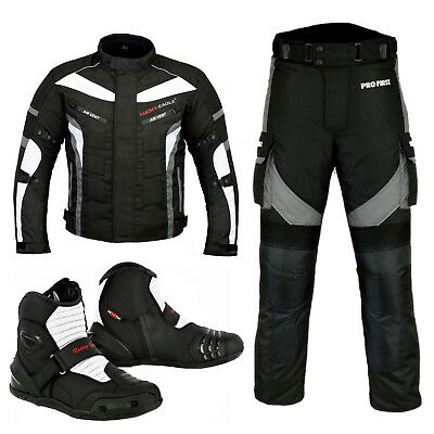 Motorbike Racing Suit Short Leather Boots Motorcycle Waterproof Jacket Trousers
