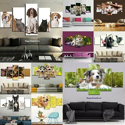 Cute Lovely Dog Painting 5pcs Canvas Print Poster Wall Art Gift Frame Home Decor