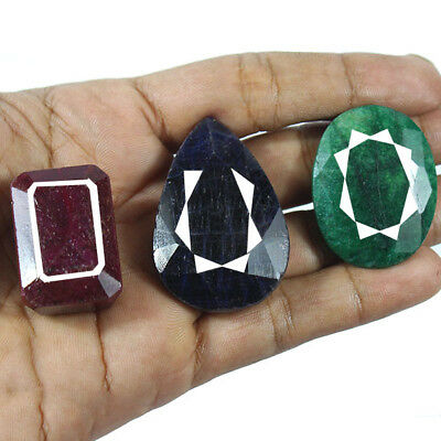 Certified 485 Ct/3 Pcs Natural Red Ruby Blue Sapphire,Green Emerald Mix Gems Lot