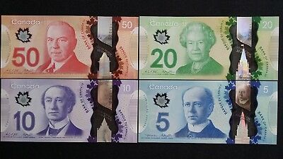 CANADA $50 $20 $10 & $5 Dollars x 4 UNC Polymer Banknotes