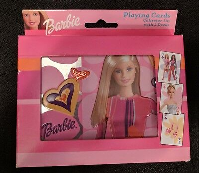 New 2003 Barbie Playing Cards 2 decks in Collector Tin Bicycle Brand