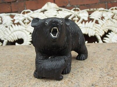 Old Carved Black Forest Mother Bear Protecting Cub. Glass Eyes.