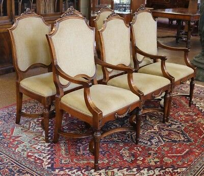 Gorgeous Set 6 Six French Walnut Louis XVI Dining Chairs New Fabric MINT C1920