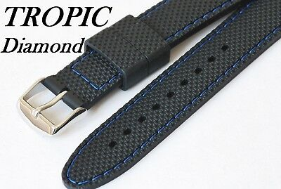 18mm 20mm 22mm TROPIC Diamond Silicone Rubber Watch Strap. Coloured Stitching