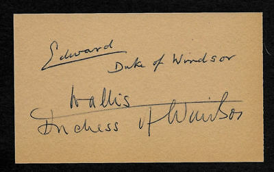 Edward VIII Duke of Windsor & Wallis Simpson Autograph Reprint On Old 3x5 Card