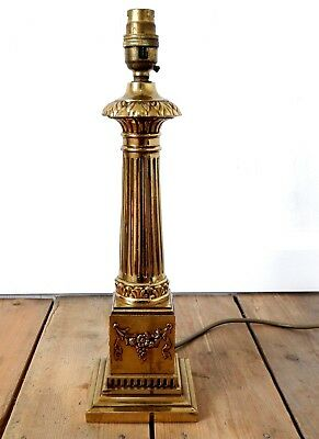 Large Vintage Corinthian Column Table Lamp Solid Brass Antique Style Working #2