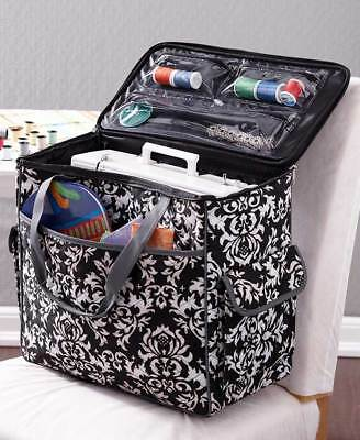 Sewing Machine Tote Rolling Travel Case Adjustable Handle on Wheels Storage