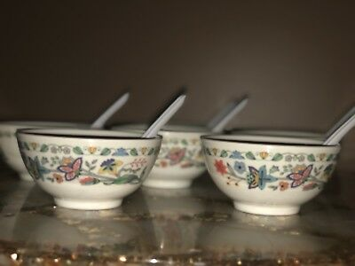 Set Of 6 Melamine Soup Bowls With 6 Soup Spoons