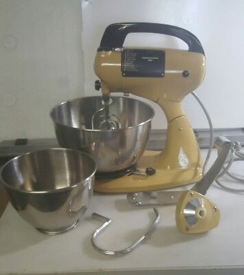 Vintage Hamilton Beach Scovill Yellow Standerd Mixer with Dough Hook, Works