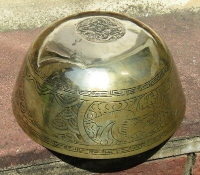 Antique or Vintage Large Chinese Brass Charger Bowl Engraving Floral Dragons