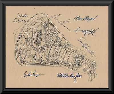 Project Mercury Autograph Reprints Command Capsule Diagram On Old Paper *P044