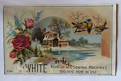 The White King of All Sewing Machines Victorian Trade Card Flowers Bird Antique