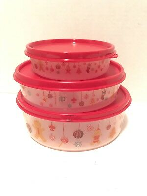 New Tupperware 3 Piece Wonders Christmas Containers Red Seals