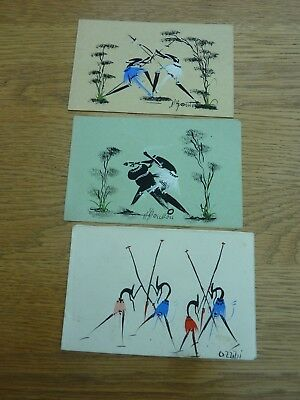 Vintage Original Signed Hand Painted African Stylised Small Greetings Cards