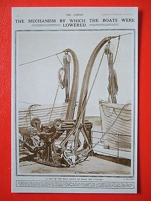 R M S Titanic Postcard -' The Mechanism By Which The Boats Were Lowered