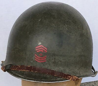 WWII US Army M1Helmet Front Seam Fixed Bail Red Artillery Sgt Stripes Firestone