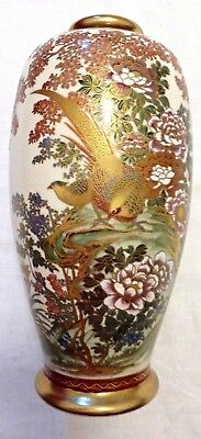 Satsuma Vase Japan China Imari Asien Antik um 1900 Asiatika Fasan Vögel  25cm