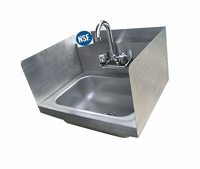 """Stainless Steel Hand Sink with Side Splash - NSF - Commercial Equipment 16"""" X..."""