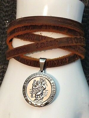 Mens Boys Personalised Brown Leather Surf Wrap Wristband St Christopher Bracelet