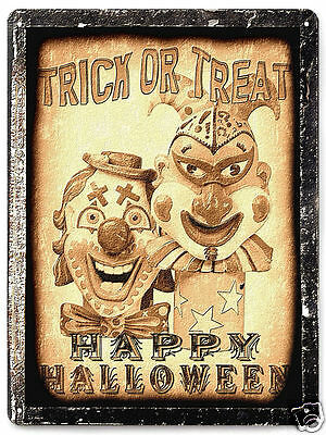CLOWN HALLOWEEN METAL SIGN scary MOVIE PROP FUNNY vintage style wall decor 063