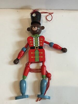 Vintage Wooden Bear Soldier Pull String Ornament Christmas
