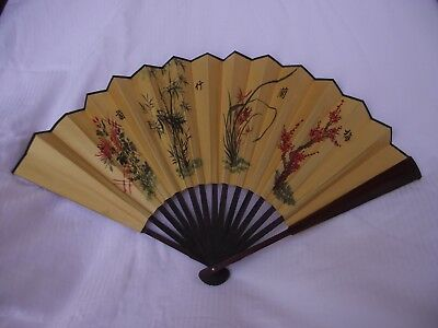 "Vintage Oriental Gold Silk Hand Fan 12""x23"" Signed Artist Art Poem Paint Bamboo"