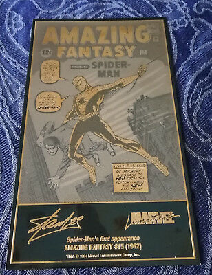 Marvel Limited Edition Amazing Fantasy #15 Gold Etched Recreation Stan Lee
