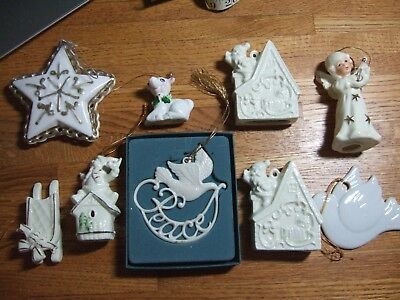 Lot of 9 Vintage Christmas Porcelain Lenox Ornaments japan angel santa chimney