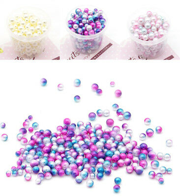 200PC Amusing Rainbow Colorful Pearls Decorative Slime Beads Craft For Slime DIY