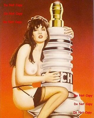 BOSCH Spark Plugs Pinup Girl 8X10 Glossy Photo Picture PIC Man Cave Decor SIGN