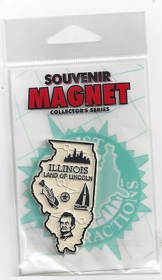 "ILLINOIS  "" LAND OF LINCOLN""   IL STATE  OUTLINE MAP MAGNET in Souvenir Bag, NEW"