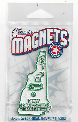 """NEW HAMPSHIRE"""" THE GRANITE STATE""""   NH  OUTLINE MAP MAGNET in Souvenir Bag, NEW"""