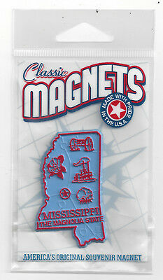 MISSISSIPPI  MS  THE MAGNOLIA   STATE   OUTLINE MAP MAGNET in Souvenir Bag, NEW