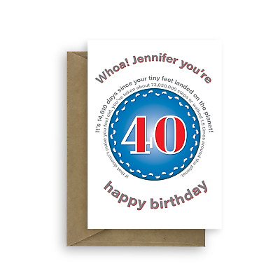 Funny Personalised 40th Birthday Card For Her Him Edit Name 40 Bday