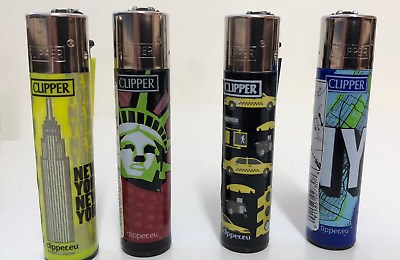 4X Full Size Refillable Clipper Lighters Empire State Liberty Taxi NY New York