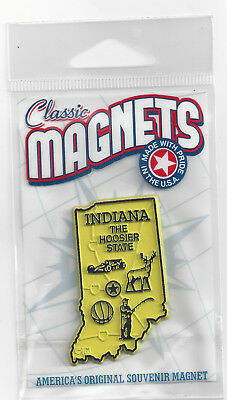 INDIANA  IN    THE HOOSIER STATE   OUTLINE MAP MAGNET in Souvenir Bag, NEW