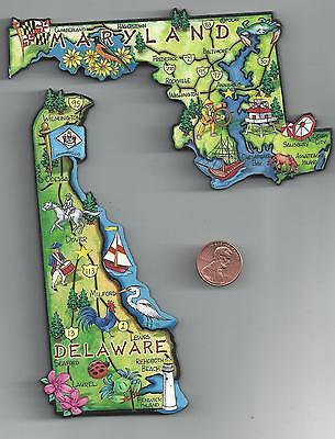 MARYLAND     and  DELAWARE    ARTWOOD JUMBO STATE MAP MAGNET SET - 2 NEW MAGNETS