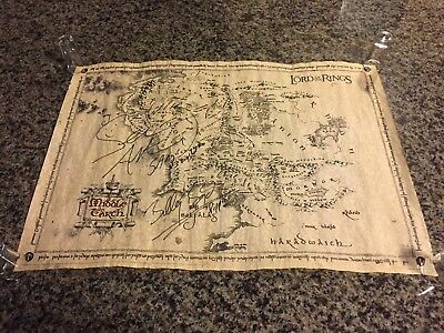 SIGNED Parchment Map Of Middle Earth - Sean Astin/Billy Boyd - Lord Of The Rings